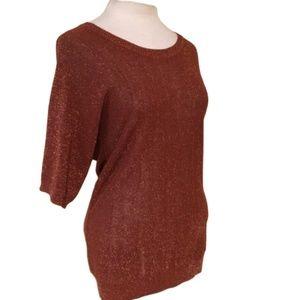 BANANA REPUBLIC Knit Dolman Scoop Sweater Metallic